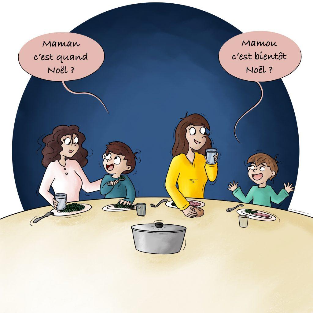 Illustration repas en famille