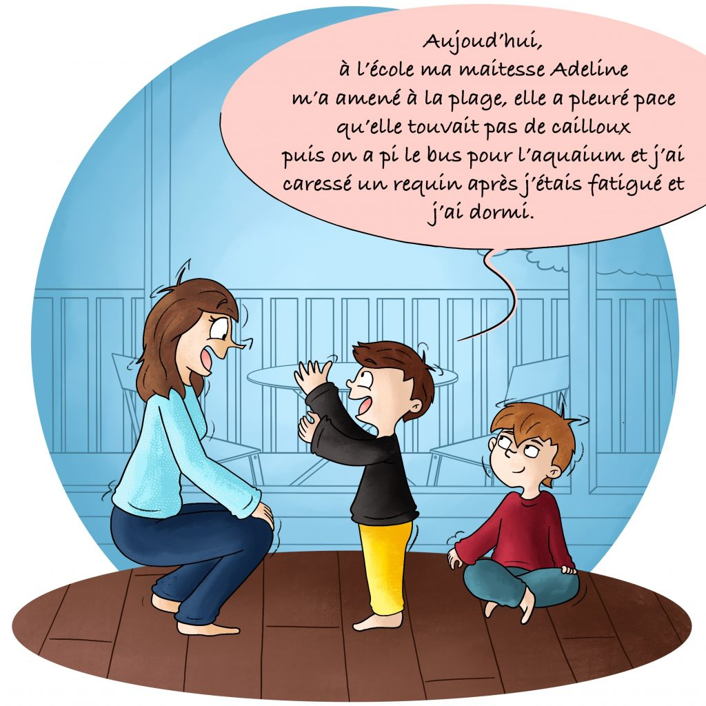 Illustration enfant qui raconte sa journée