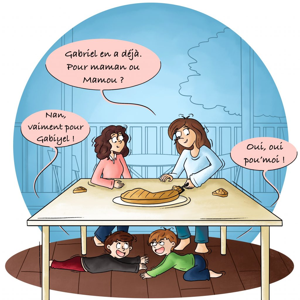 Illustration la galette des rois avec les enfants