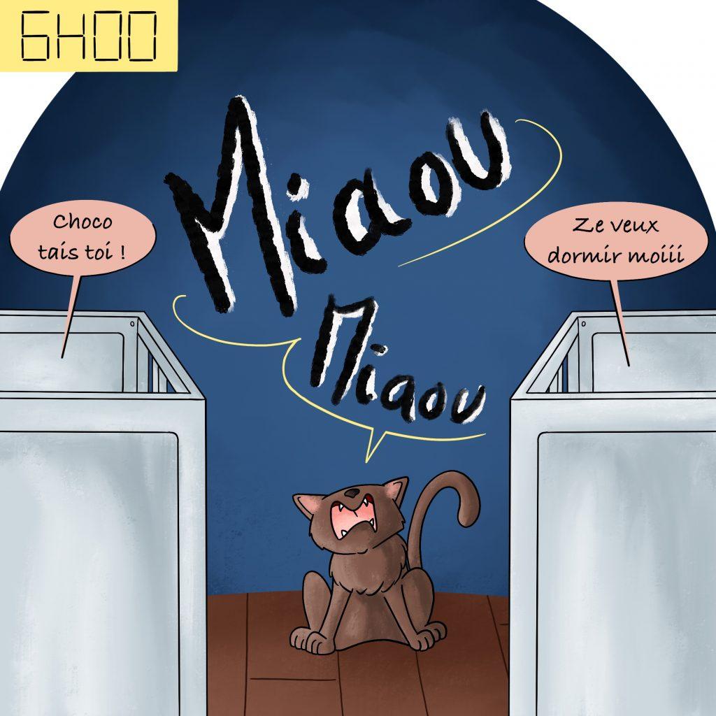 Illustration chat qui réveille toute la maison