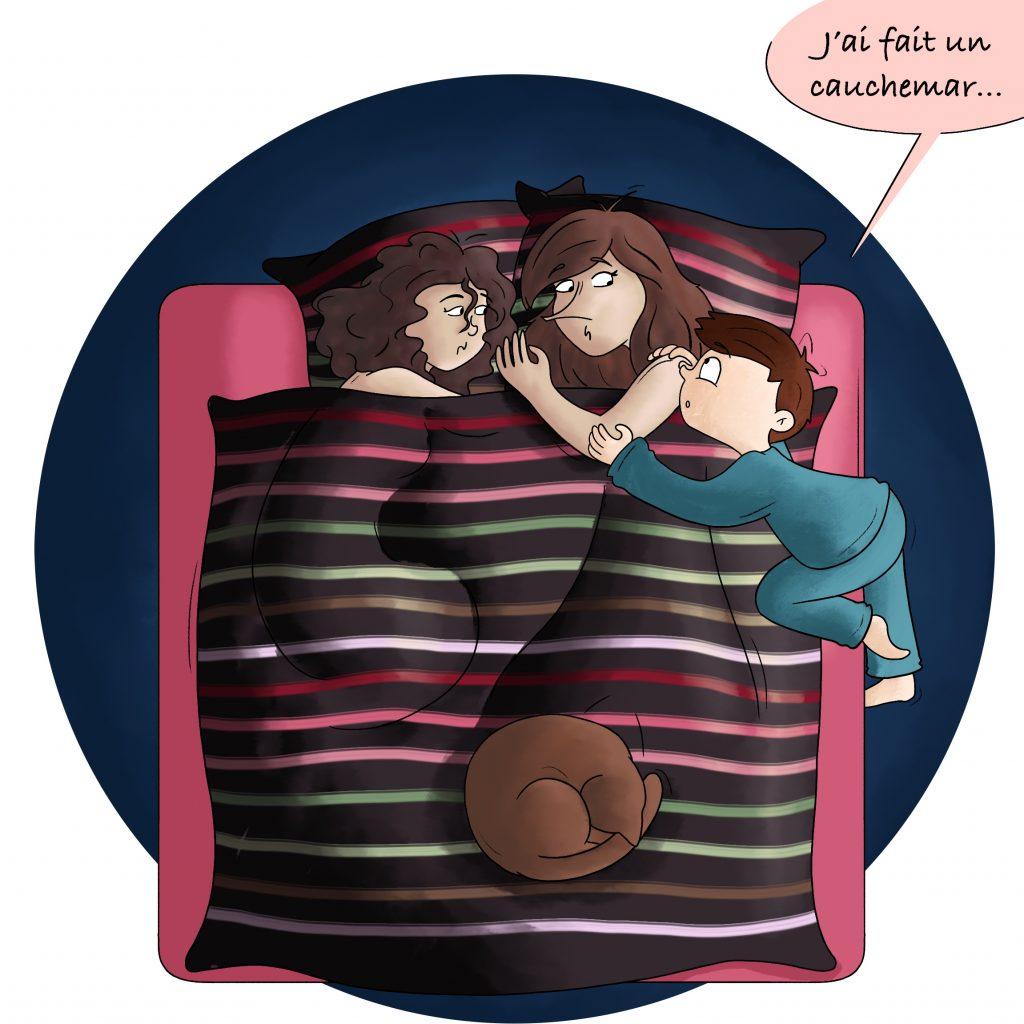 Les enfants qui dorment dans le lit des parents