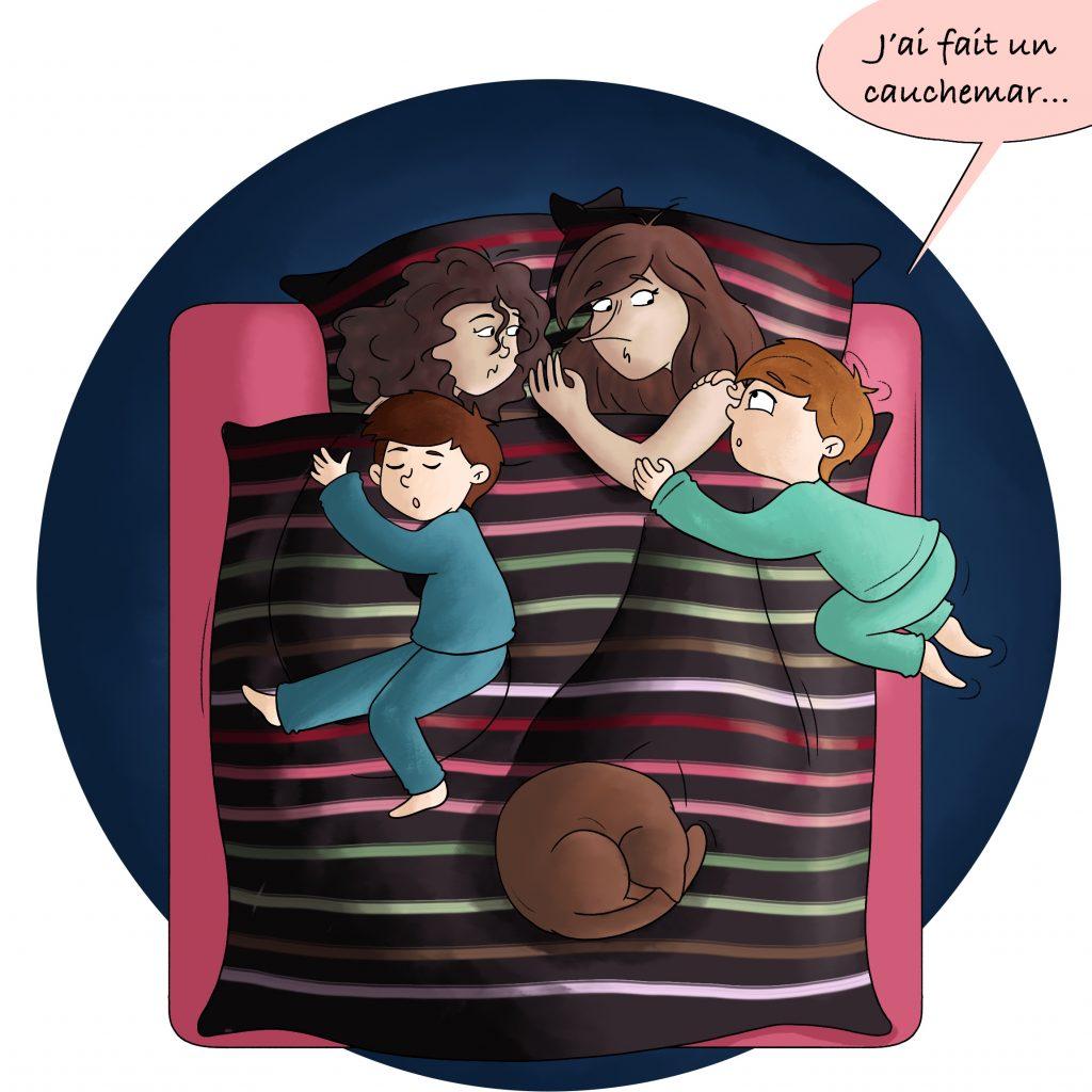 Parent de jumeaux 2 enfants dans le lit
