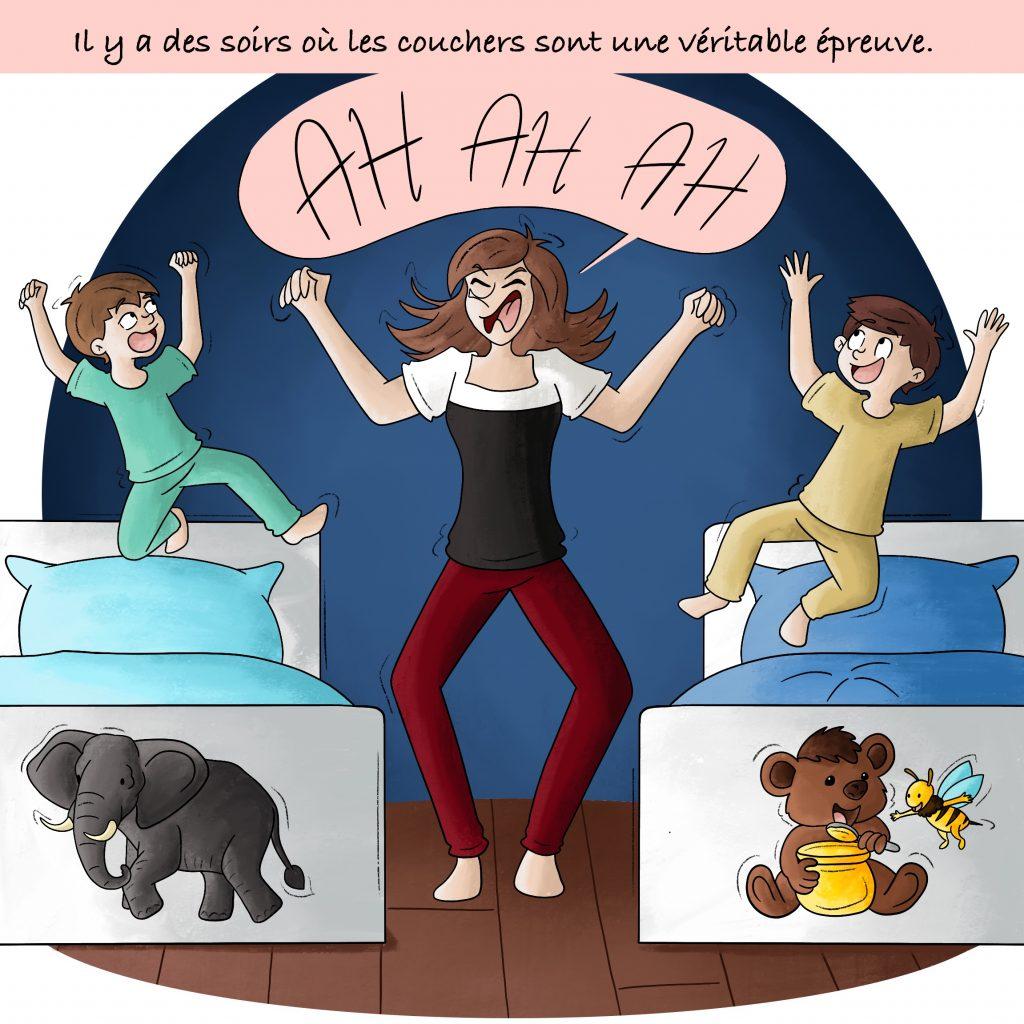 Illustration la crise du coucher des enfants