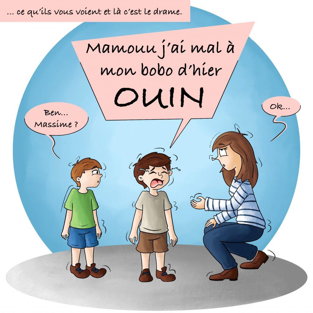 Illustration enfant qui pleure en voyant sa maman