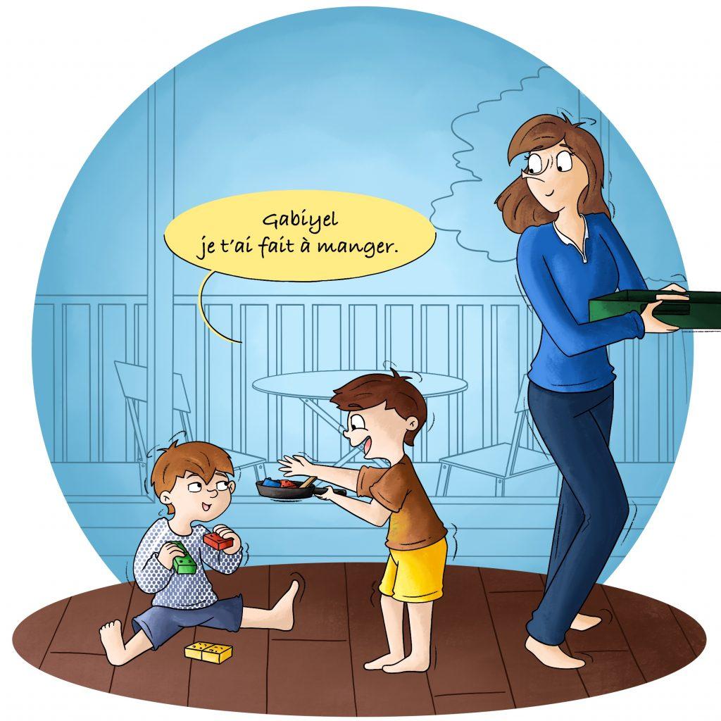 Illustration d'enfants qui jouent à la dînette