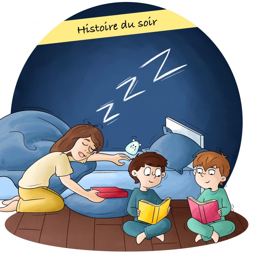 Illustration raconter l'histoire du soir